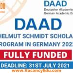 DAAD Helmut Schmidt Scholarship Programme 2022 in Germany
